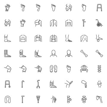 Orthopedic rehabilitation line icons set. linear style symbols collection outline signs pack. vector graphics. Set includes icons as orthopedic surgery, wrist brace, spine treatment posture correction