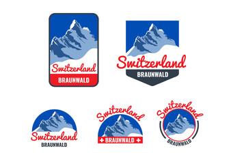 Logo collection for the Swiss ski resort. Vector illustration.