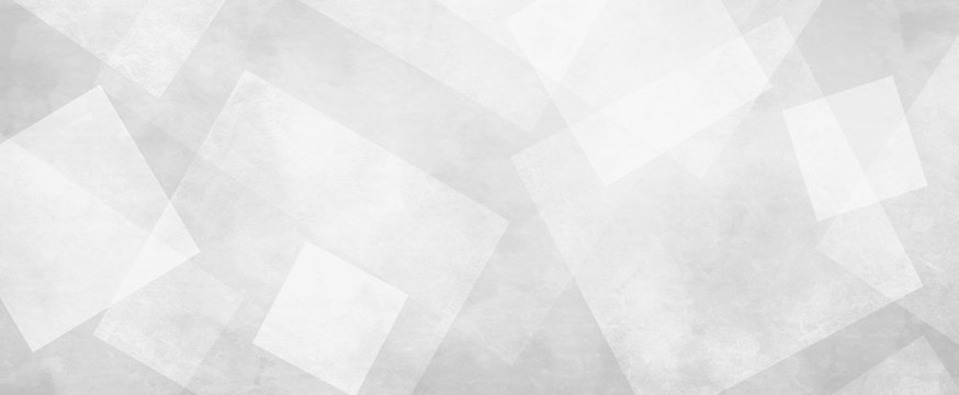 White background with diamond squares and triangle shapes layered in geometric design, white textured background illustration that is trendy and panoramic