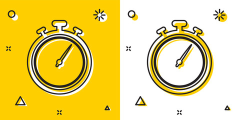 Black Stopwatch icon isolated on yellow and white background. Time timer sign. Chronometer sign. Random dynamic shapes. Vector Illustration