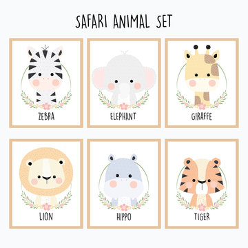 Cute Safari Animal Set