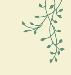 Ivy border design, green hanging vine with leaves in pretty border decoration, spring or nature vector plant design, colors are editable