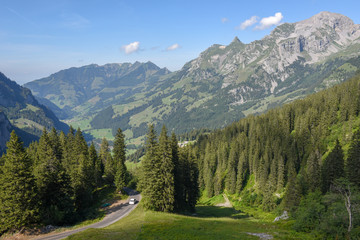 Landscape at the valley of Melchtal in the Swiss alps