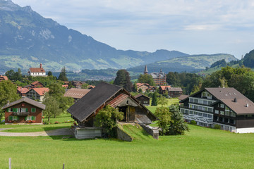 Landscape at the village of Flüeli-Ranft on the Swiss alps