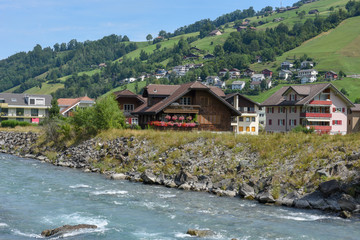 Landscape at the village of Dallenwil in the Swiss alps