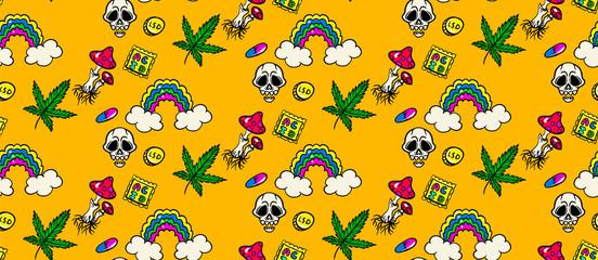 seamless psychedelic trip pattern:LSD, weed, skull, eyeball, rainbow, drugs