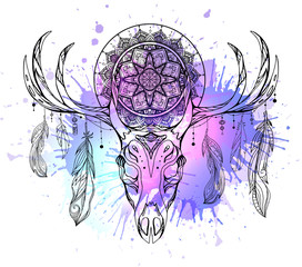 Mystical illustration of deer skull with feathers, mandala and neon watercolor stains. The object is separate from background. Vector boho image for printing on mugs, covers and your creativity.