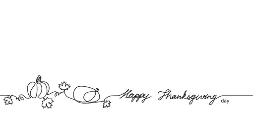 Happy Thanksgiving one single line vector illustration. Pumpkin, maple leaves, turkey. Canada Thanksgiving holiday banner.