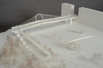 Site surrounding model for architectural presentation of a bridge at Geneva on Switzerland