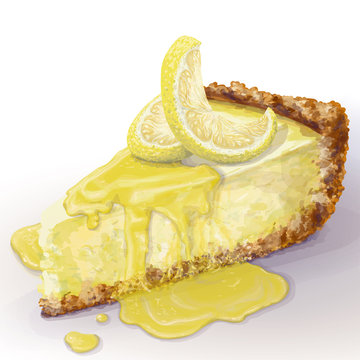 Vector piece of cheesecake with airy and tender, delicate creamy-curd cheese. Crisp and crumble cake with back, appetizing, realistic, homemade cakes with lemon, lemon wet jam. Healthy, home pastry