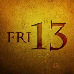 Friday 13 text on ywllow grunge background
