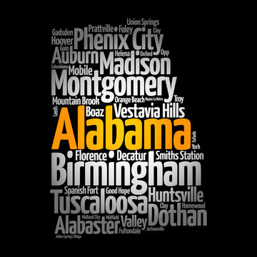 List of cities in Alabama USA state, map silhouette word cloud map concept