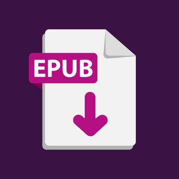 Vector purple icon EPUB. File format extensions icon. flat design style.