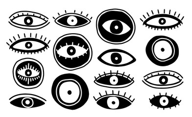 Set eyes mystic hand draw.Occult mystic emblem.Evil Seeing eye symbol naive set. Wall mural