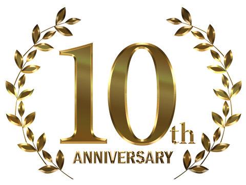 月桂樹モチーフのゴールドメタリックのアニバーサリーのロゴ_5周年・月桂冠_Metal texture golden 10th anniversary logo