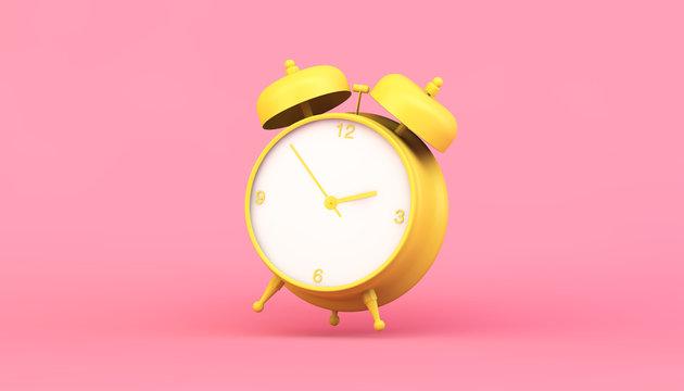 yellow clock 3d rendering