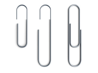 Metal paperclips attached to paper 3d render on white