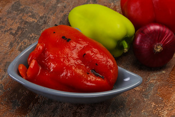 Marinated baked red bell pepper