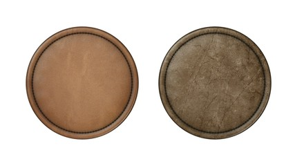 Round leather patch with seam. To insert company logo.