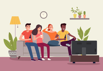 Young women, men sitting on sofa and watching TV in the living room. Vector flat style illustration
