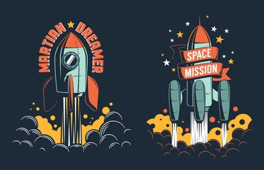Rocket launch retro emblem. Rocketship start to the Mars vintage poster template. Vector illustration.