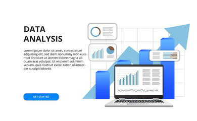 data analysis for business finance report concept with illustration of 3D laptop and graph Wall mural