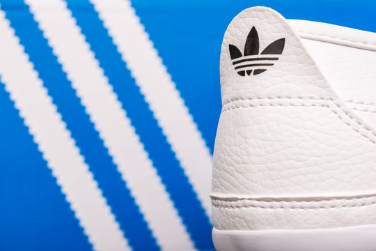 BUCHAREST, ROMANIA - JULY 23, 2014: Adidas Sport Shoes Close Up. Founded in 1924 is a German multinational corporation that designs and manufactures sports shoes, clothing and accessories.