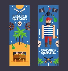 Pirate quest game banner, vector illustration. Fun activity event for children, pirate style party. Flat cartoon style funny corsair character