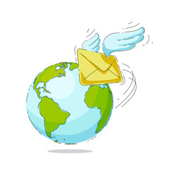 Mail envelope with wings on a background of the globe.