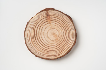top view of wood piece with annual ring on white