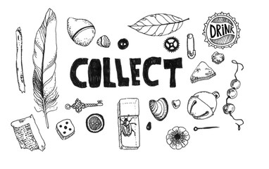 Set of black and white children items collection. The picture is painted with a black artist pen.