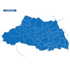 サイタマ県地図 シンプル青 市区町村