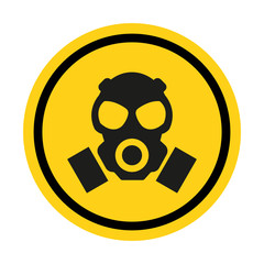 Gas hazard, Ware Respirator, Dust hazard warning yellow sign vector icon isolated on white background.