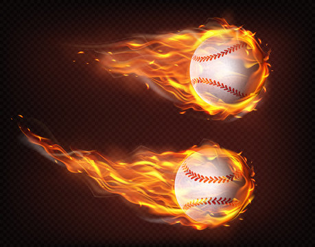 Firing, flying engulfed in flames baseball balls 3d realistic vector illustration isolated on transparent background. Sport inventory shop ad, baseball competition, tournament promotion design element