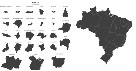 political map of Brazil on white background Wall mural