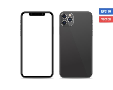Realistic vector flat mock-up Apple iPhone 11 Pro Max with blank screen isolated on white background. Scale image any resolution