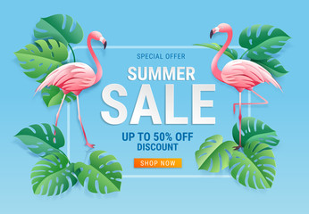 Summer sale card with two pink flamingo on tropical leaf paper cut background. Vector illustration