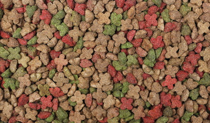 Pet food, granules background and texture