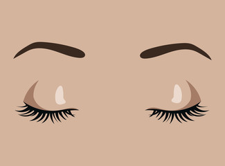 Female eyes closed. Sleeping girl. Beautiful eyes with pinched eyelashes and elegant eyebrows. Eyebrow tattoo. Facial care. Illustration for a beauty salon.