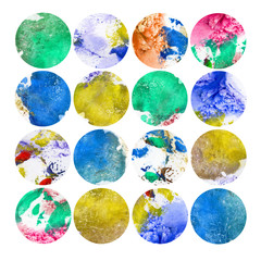 Watercolor illustration, set. Circle shaped watercolor texture. Shades of different colors. Blue, green, yellow, pink.