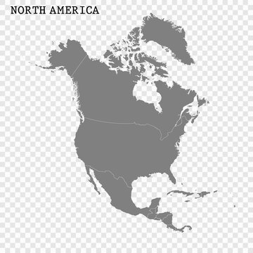High quality map of North America
