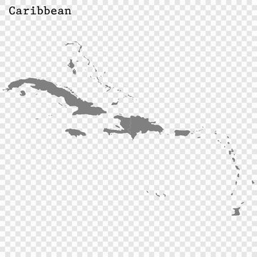 High quality map of Caribbean