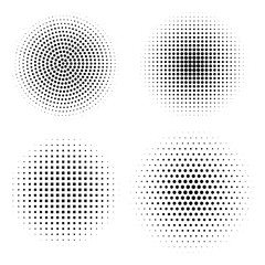 Vector set of halftone design elements. Abstract circles with dotted gradient halftone effect. Black dots on a white background