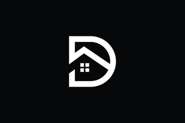 Logo design of D in vector for construction, home, real estate, building, property. Minimal awesome trendy professional logo design template on black background.