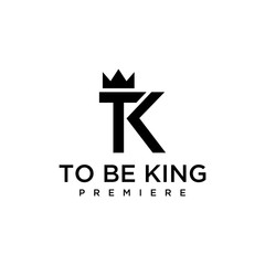 Illustration of T, K signs with crowns on them looks luxurious and elegant