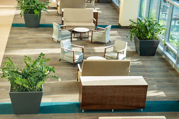 Lobby seating offering comfortable chairs and small group areas