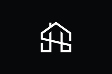 Logo design of SH HS in vector for construction, home, real estate, building, property. Minimal awesome trendy professional logo design template on black background.