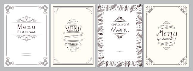 Classic/ retro/ vintage restaurant menu cover - A4 format, template