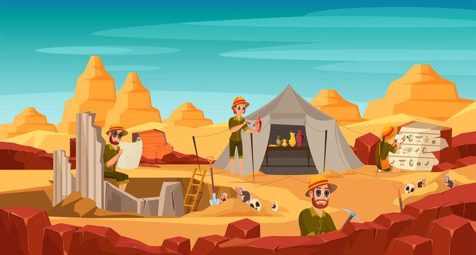 Archeological excavation flat vector illustration