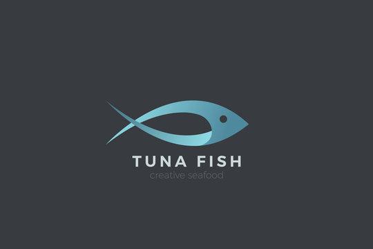 Fish Tuna Seafood Logo abstract design vector template.